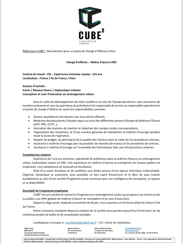 Offre d'emploi pour un poste de chargé d'affaires à l'agence parisienne
