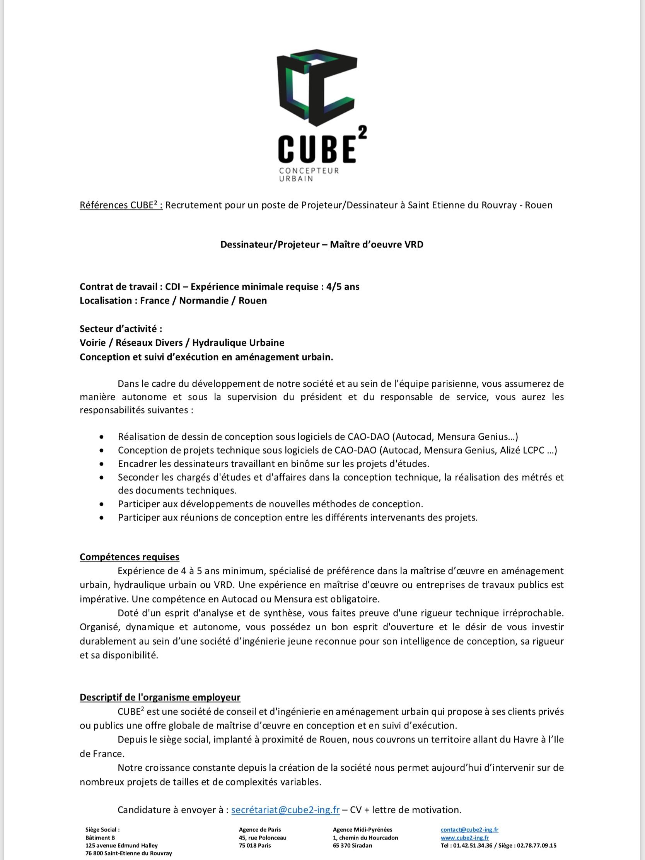 Offre d'emploi pour un poste de projeteur - Rouen 76