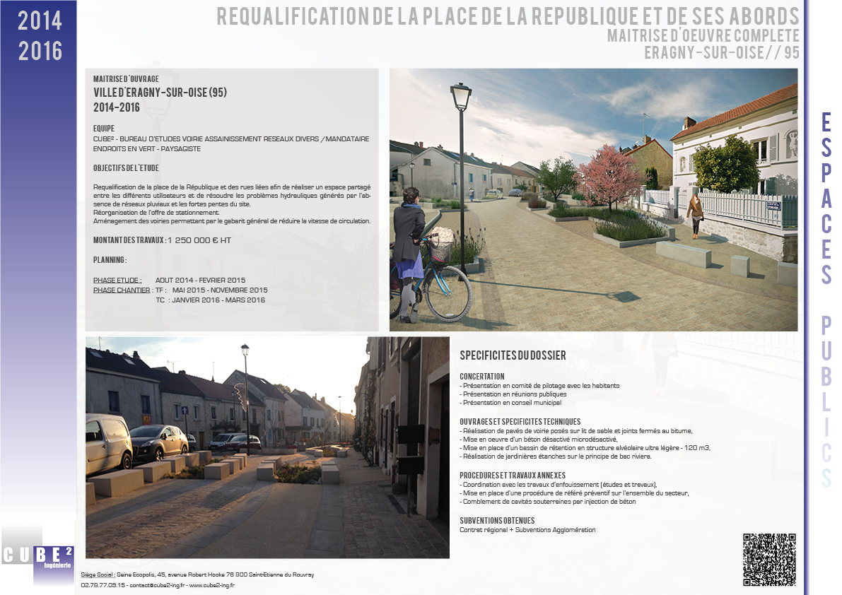 Requalification de la place de la République de ses abords - Commune d'Eragny sur Oise - 95 - Val d'Oise